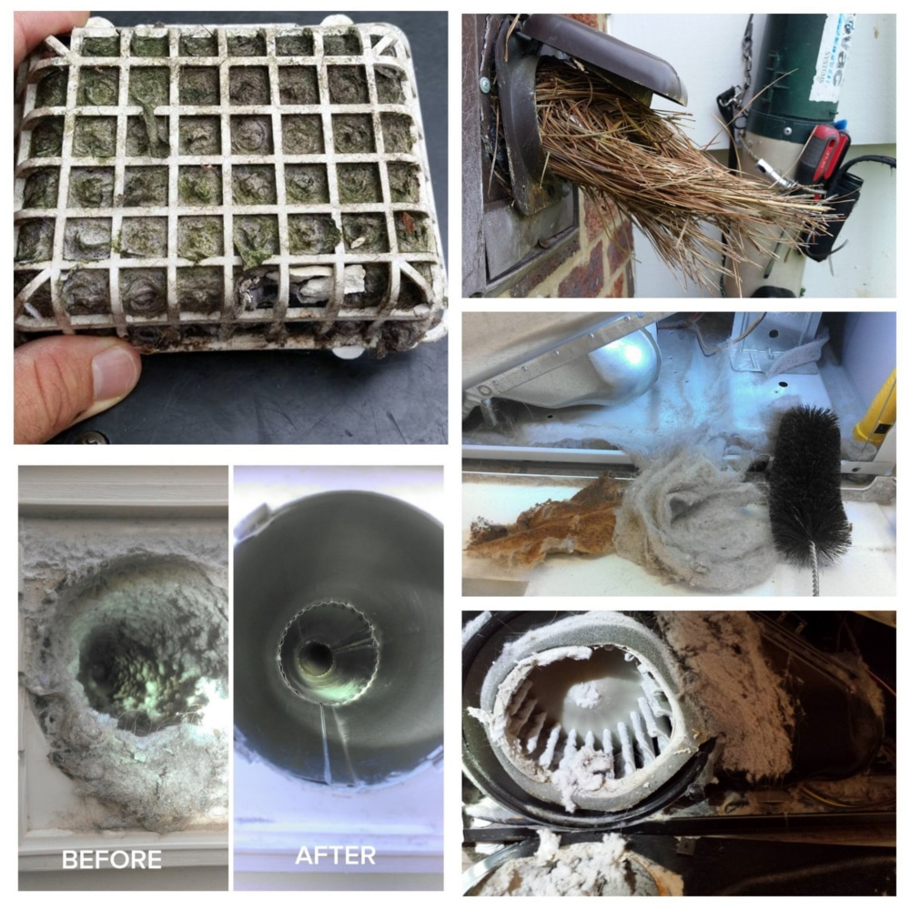 Nate's Dryer Vent Cleaning - Rockledge Florida - before and after collage 1
